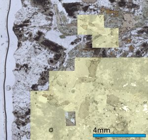 GeoStar can be used to merge images from different sources. Here we see a low-resolution slide image as a background, an ad-hoc mosaic of the sample collected using GeoStar and a small high-resolution image of a small area showing inclusions and exquisite sample detail. Such an image can be easily exported from the software.